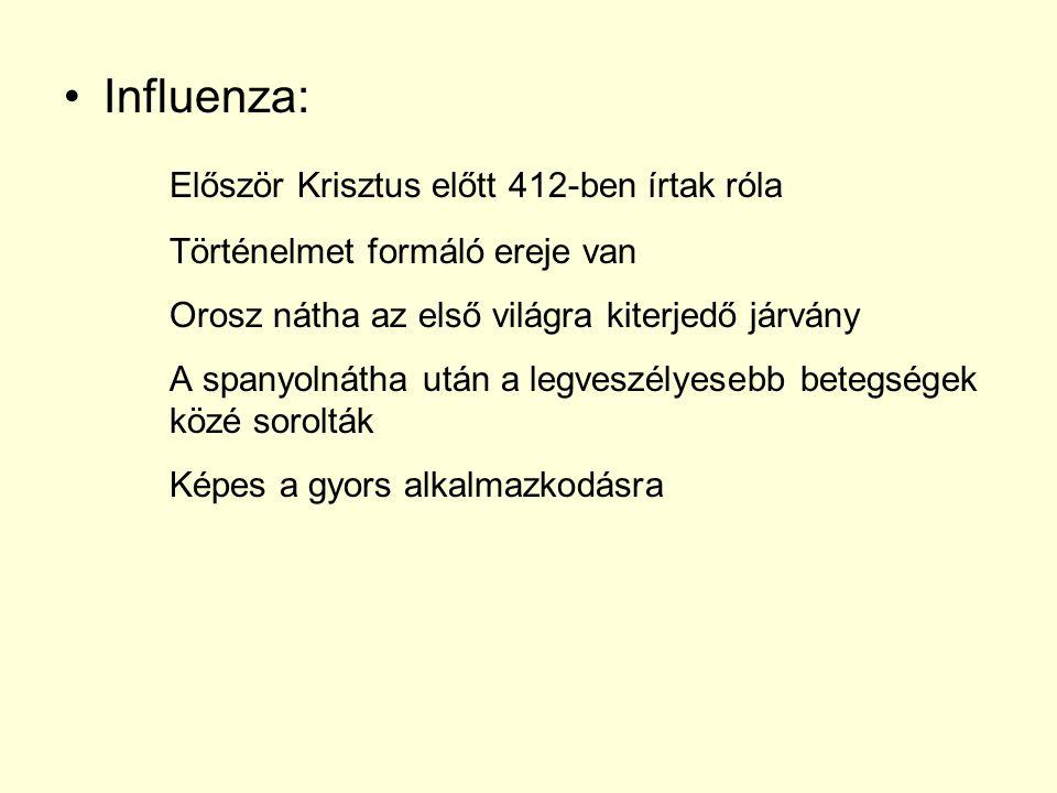 Influenza: Először Krisztus előtt 412-ben írtak róla Történelmet formáló ereje van Orosz nátha az első világra kiterjedő járvány A spanyolnátha után a