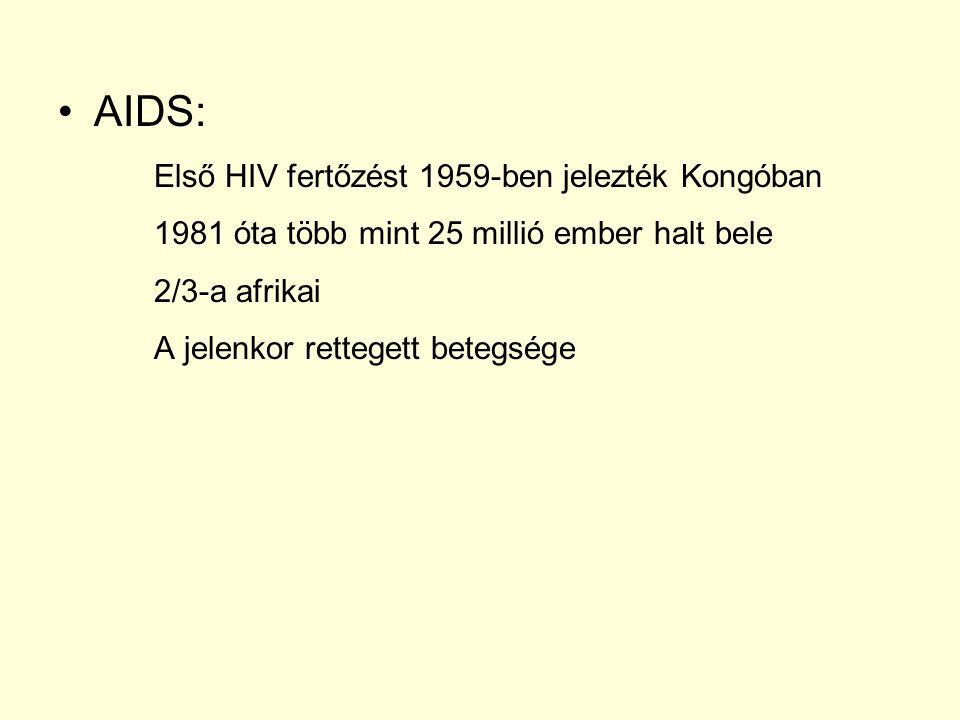 AIDS: Első HIV fertőzést 1959-ben jelezték Kongóban 1981 óta több mint 25 millió ember halt bele 2/3-a afrikai A jelenkor rettegett betegsége