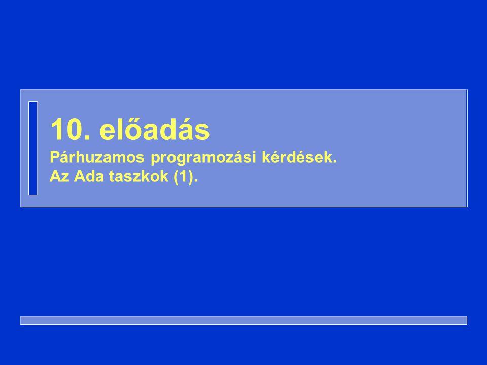 22 Taszk típussal with Ada.Text_IO; use Ada.Text_IO; procedure Háromszálú is task type Üdvözlő; task body Üdvözlő is begin loopPut_Line( Szia! );end loop; end Üdvözlő; Egyik, Másik: Üdvözlő; begin loopPut_Line( Viszlát! ); end loop; end Háromszálú;