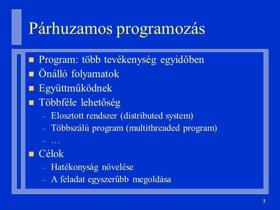 3 Párhuzamos programozás n Program: több tevékenység egyidőben n Önálló folyamatok n Együttműködnek n Többféle lehetőség – Elosztott rendszer (distributed system) – Többszálú program (multithreaded program) – … n Célok – Hatékonyság növelése – A feladat egyszerűbb megoldása