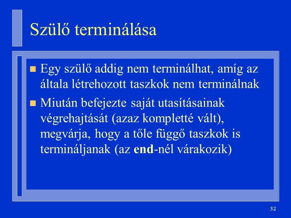 32 Szülő terminálása n Egy szülő addig nem terminálhat, amíg az általa létrehozott taszkok nem terminálnak n Miután befejezte saját utasításainak végrehajtását (azaz kompletté vált), megvárja, hogy a tőle függő taszkok is termináljanak (az end-nél várakozik)
