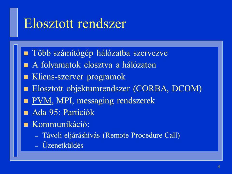 25 Mutató típusú diszkrimináns with Ada.Text_IO; use Ada.Text_IO; procedure Háromszálú is type PString is access String; task type Üdvözlő ( Szöveg: PString ); task body Üdvözlő is begin loopPut_Line(Szöveg.all);end loop; end Üdvözlő; Egyik: Üdvözlő(new String'( Szia! )); Másik: Üdvözlő(new String'( Hello! )); begin loopPut_Line( Viszlát! );end loop; end Háromszálú;