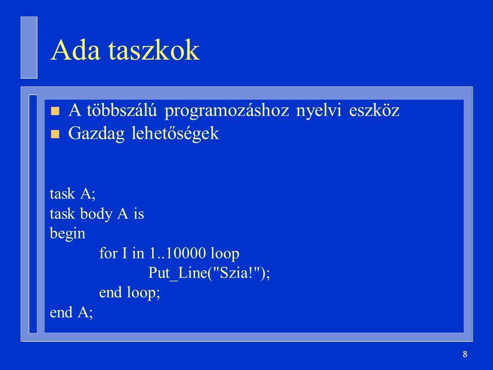 8 Ada taszkok n A többszálú programozáshoz nyelvi eszköz n Gazdag lehetőségek task A; task body A is begin for I in 1..10000 loop Put_Line( Szia! ); end loop; end A;
