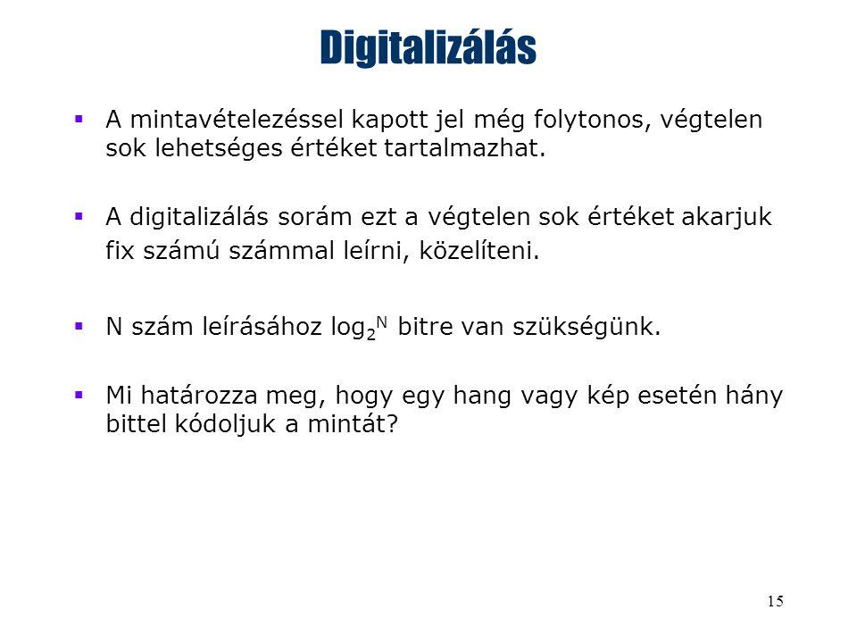 15 Digitalizálás  A mintavételezéssel kapott jel még folytonos, végtelen sok lehetséges értéket tartalmazhat.