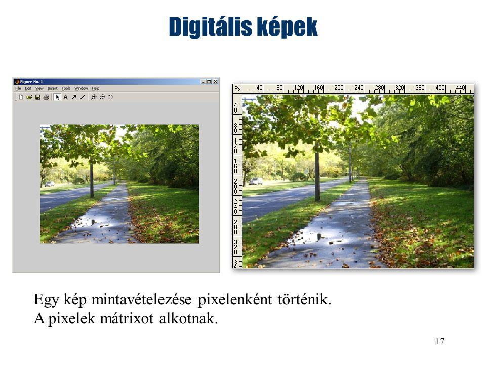 17 Digitális képek Egy kép mintavételezése pixelenként történik. A pixelek mátrixot alkotnak.