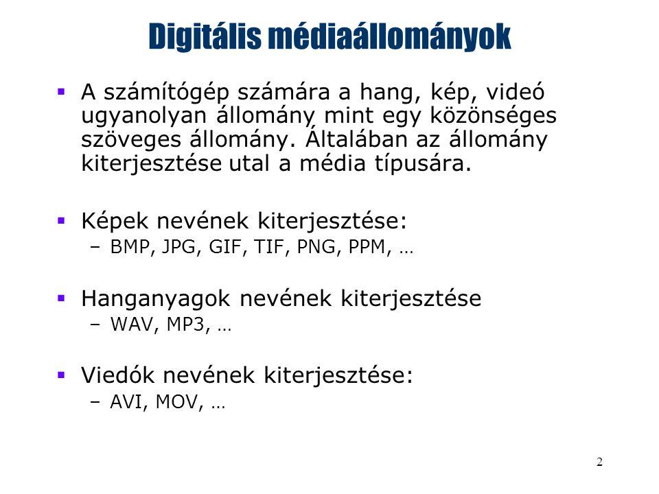 2 Digitális médiaállományok  A számítógép számára a hang, kép, videó ugyanolyan állomány mint egy közönséges szöveges állomány.