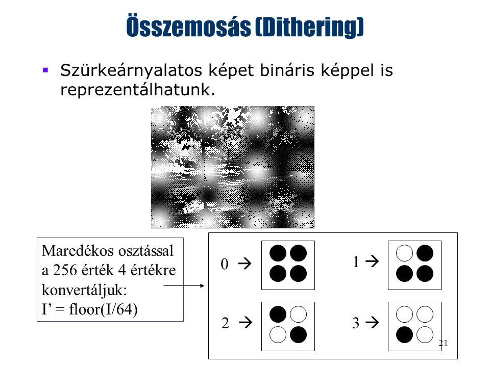 21 Összemosás (Dithering)  Szürkeárnyalatos képet bináris képpel is reprezentálhatunk.