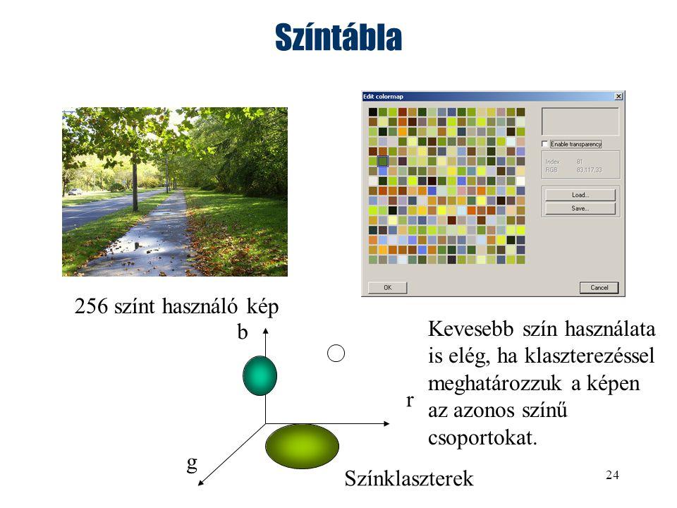 24 Színtábla 256 színt használó kép r g b Színklaszterek Kevesebb szín használata is elég, ha klaszterezéssel meghatározzuk a képen az azonos színű csoportokat.