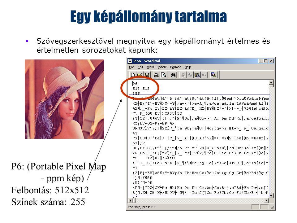 3 Egy képállomány tartalma  Szövegszerkesztővel megnyitva egy képállományt értelmes és értelmetlen sorozatokat kapunk: P6: (Portable Pixel Map - ppm kép) Felbontás: 512x512 Színek száma: 255