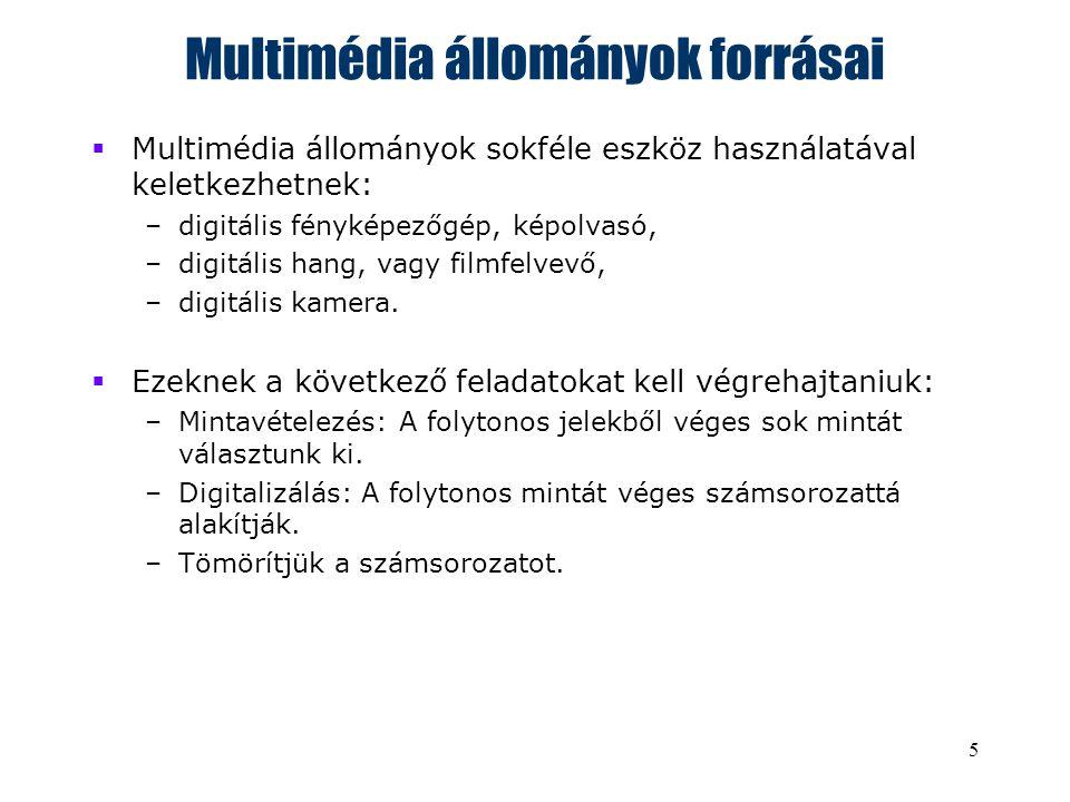 5 Multimédia állományok forrásai  Multimédia állományok sokféle eszköz használatával keletkezhetnek: –digitális fényképezőgép, képolvasó, –digitális hang, vagy filmfelvevő, –digitális kamera.