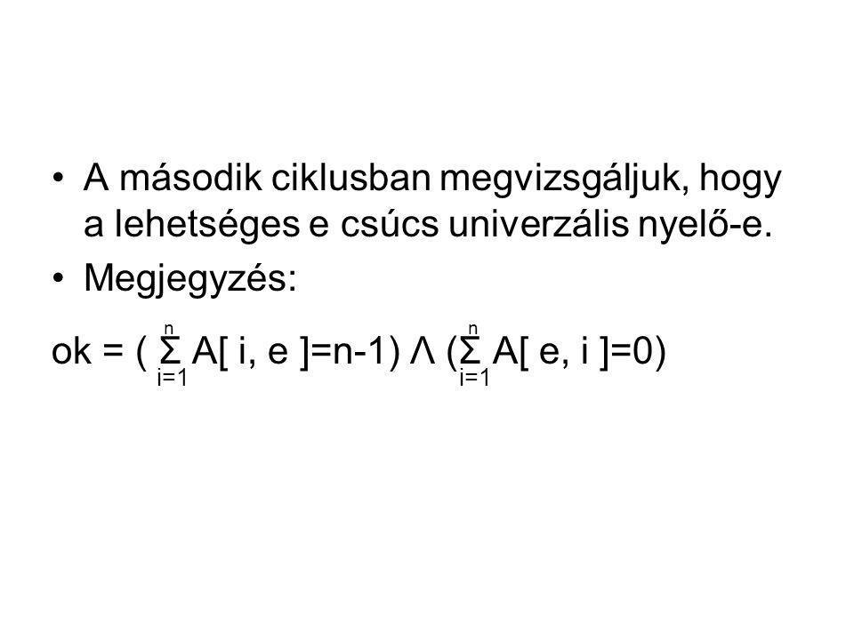 A második ciklusban megvizsgáljuk, hogy a lehetséges e csúcs univerzális nyelő-e. Megjegyzés: n ok = ( Σ A[ i, e ]=n-1) Λ (Σ A[ e, i ]=0) i=1 i=1