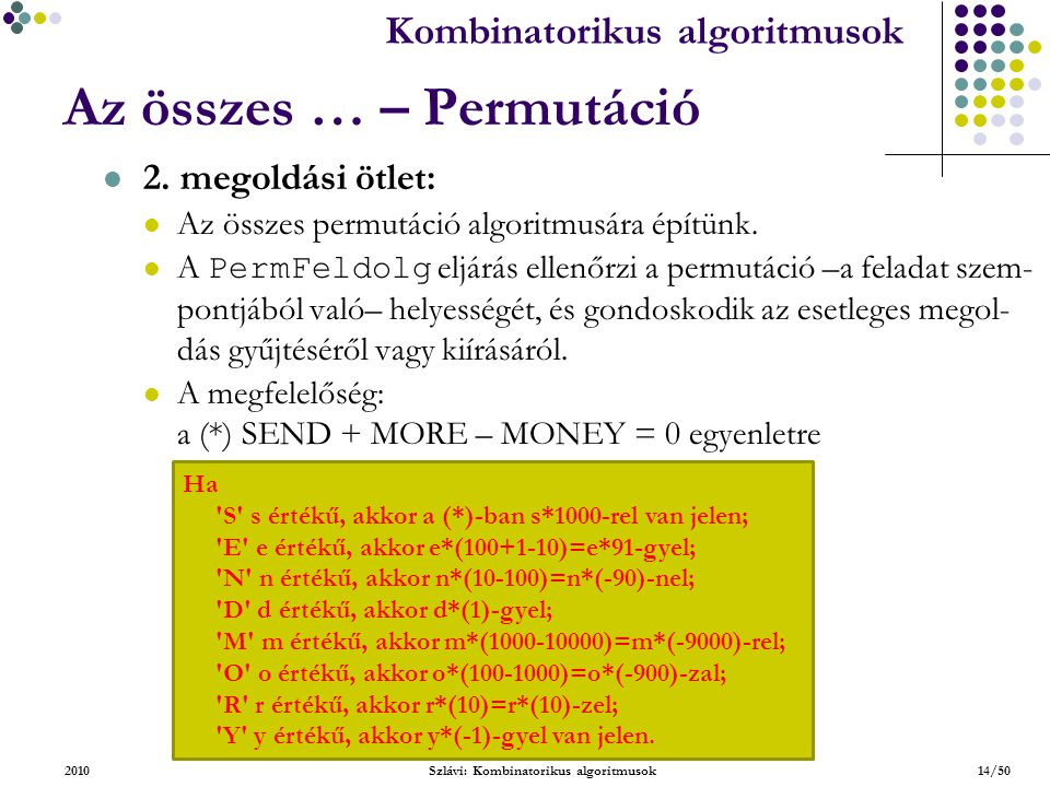 Kombinatorikus algoritmusok 2010Szlávi: Kombinatorikus algoritmusok14/50 Az összes … – Permutáció 2.