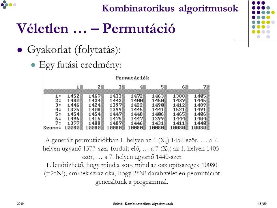 Kombinatorikus algoritmusok 2010Szlávi: Kombinatorikus algoritmusok45/50 Véletlen … – Permutáció Gyakorlat (folytatás): Egy futási eredmény: A generált permutációkban 1.