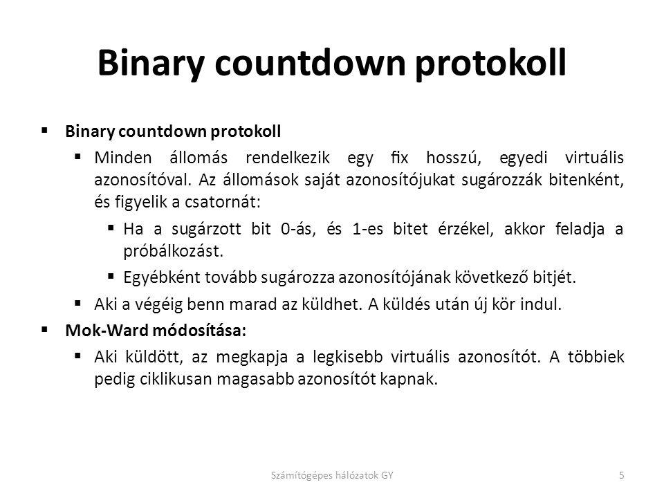 Binary countdown protokoll  Binary countdown protokoll  Minden állomás rendelkezik egy fix hosszú, egyedi virtuális azonosítóval.
