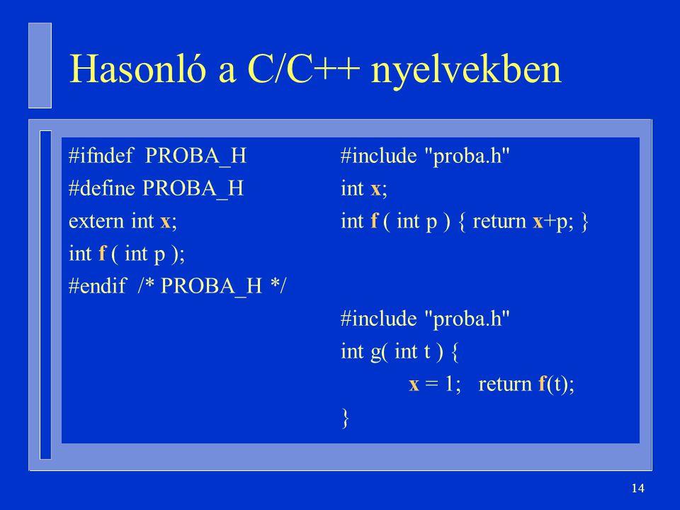 14 Hasonló a C/C++ nyelvekben #ifndef PROBA_H#include proba.h #define PROBA_Hint x; extern int x;int f ( int p ) { return x+p; } int f ( int p ); #endif /* PROBA_H */ #include proba.h int g( int t ) { x = 1; return f(t); }