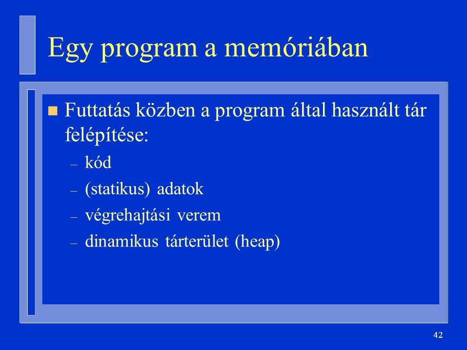42 Egy program a memóriában n Futtatás közben a program által használt tár felépítése: – kód – (statikus) adatok – végrehajtási verem – dinamikus tárterület (heap)