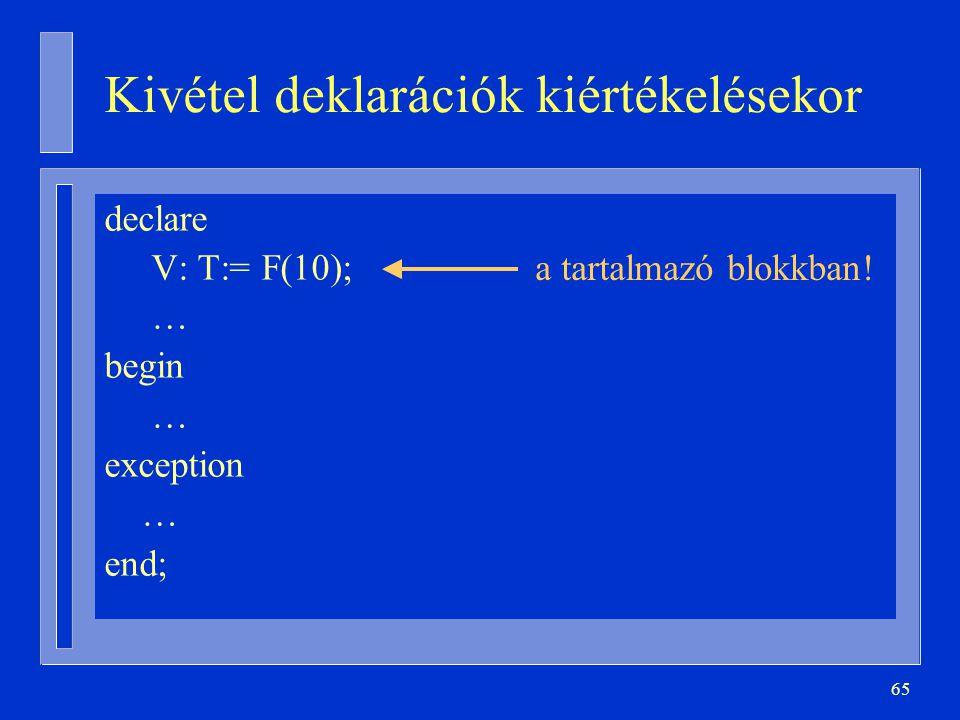 65 Kivétel deklarációk kiértékelésekor declare V: T:= F(10); … begin … exception … end; a tartalmazó blokkban!