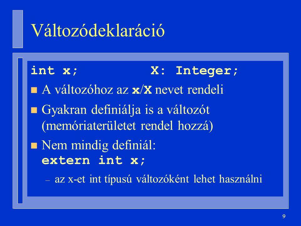 9 Változódeklaráció int x;X: Integer; A változóhoz az x / X nevet rendeli n Gyakran definiálja is a változót (memóriaterületet rendel hozzá) Nem mindig definiál: extern int x; – az x-et int típusú változóként lehet használni
