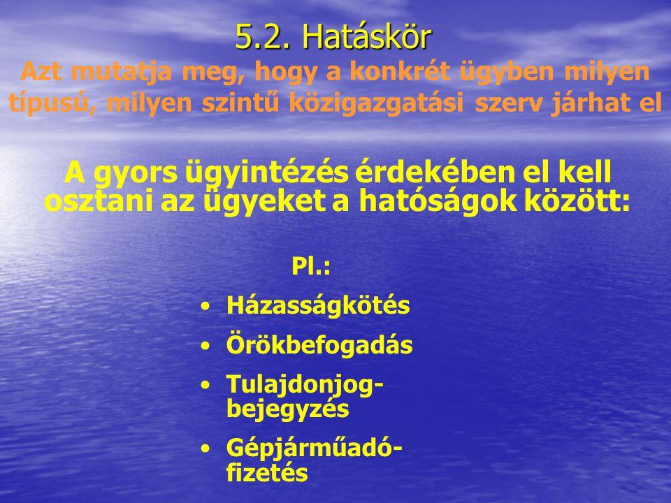 5.1. Joghatóság Az ügyek magyar és külföldi hatóságok közötti megosztásával kapcsolatos fogalom MK területén a magyar ügyfél, vagy Magyarországon nyil