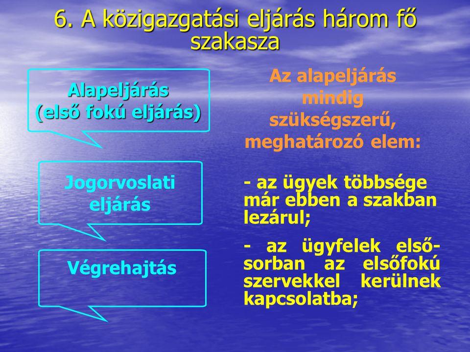 6.Az alapeljárás (első fokú eljárás) 6.1. Az első fokú eljárás főbb szakaszai 6.2.