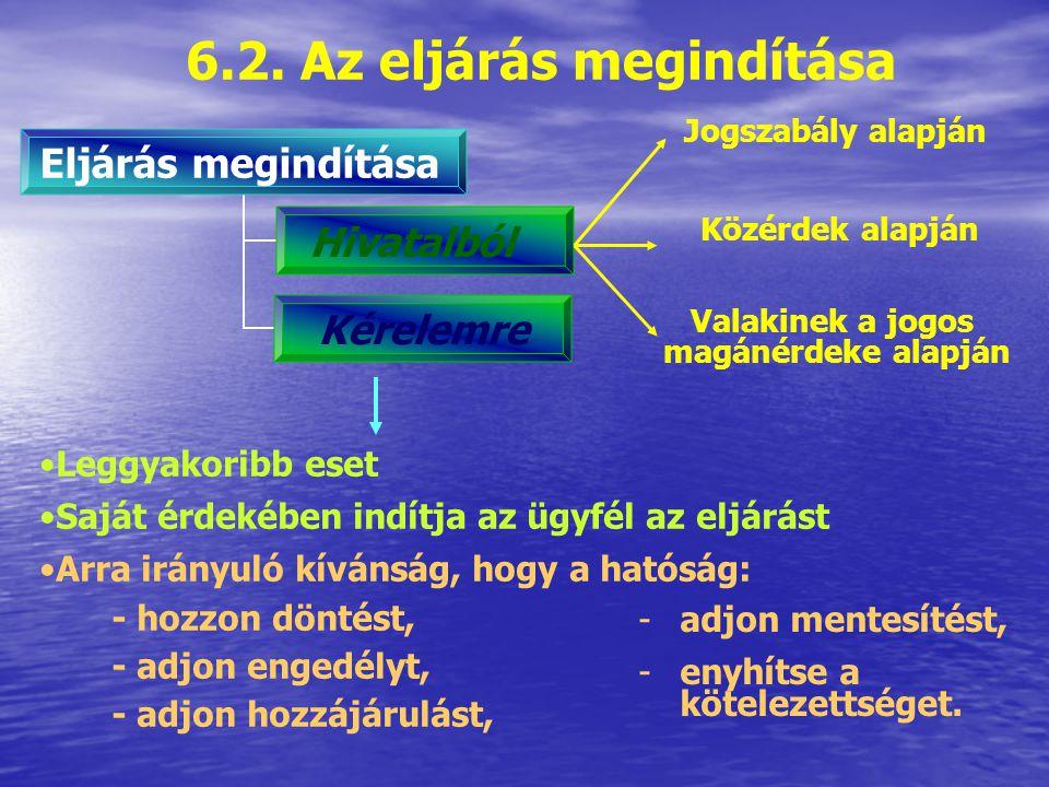 6.1.Az első fokú eljárás főbb szakaszai 1. Eljárás megindítása Értesítés 2.