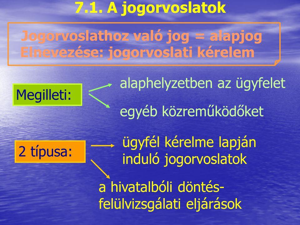 7. A jogorvoslati eljárás 7.1. A jogorvoslatok 7.2. A jogorvoslatok típusai 7.3. Kérelemre induló jogorvoslatok 7.4. Hivatalból indított döntés- felül