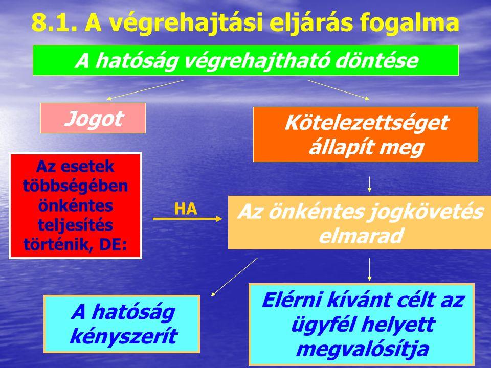8. A végrehajtási eljárás 8.1. A végrehajtási eljárás fogalma 8.2. A végrehajtás feltételei 8.3. A végrehajtás módjai