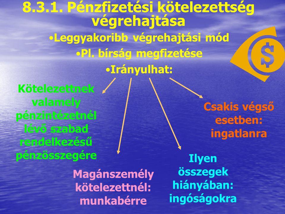 8.3. A végrehajtás módjai Pénzfizetési kötelezettség végrehajtása Meghatározott cselekmény végrehajtása Meghatározott ingóság kiadása