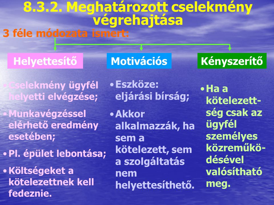 8.3.1. Pénzfizetési kötelezettség végrehajtása Leggyakoribb végrehajtási mód Pl. bírság megfizetése Irányulhat: Kötelezettnek valamely pénzintézetnél