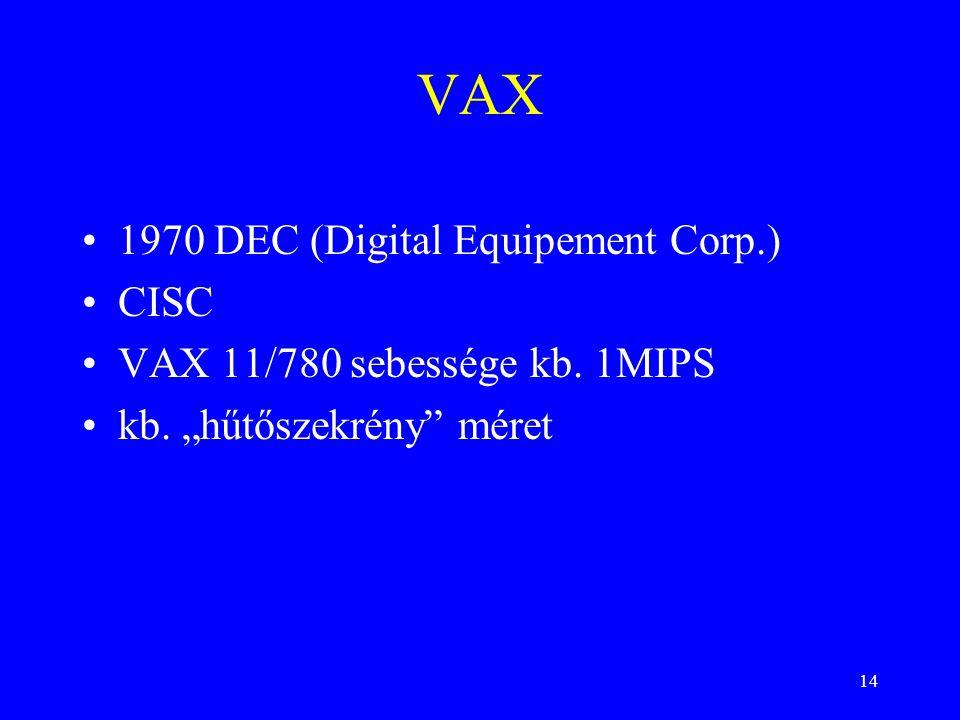 "14 VAX 1970 DEC (Digital Equipement Corp.) CISC VAX 11/780 sebessége kb. 1MIPS kb. ""hűtőszekrény"" méret"