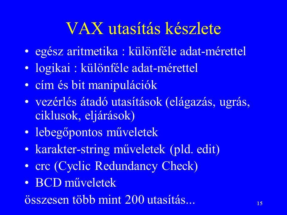 15 VAX utasítás készlete egész aritmetika : különféle adat-mérettel logikai : különféle adat-mérettel cím és bit manipulációk vezérlés átadó utasítások (elágazás, ugrás, ciklusok, eljárások) lebegőpontos műveletek karakter-string műveletek (pld.