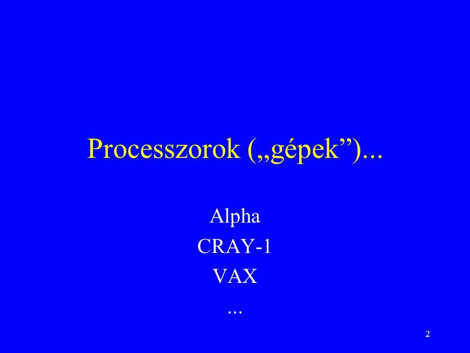 """2 Processzorok (""""gépek )... Alpha CRAY-1 VAX..."""