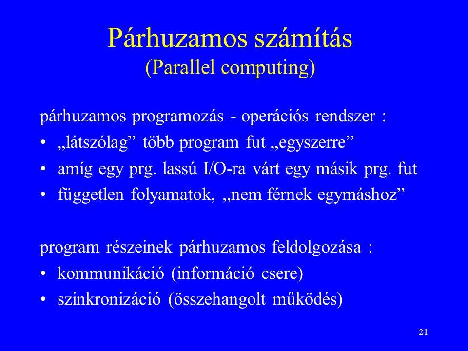 """21 Párhuzamos számítás (Parallel computing) párhuzamos programozás - operációs rendszer : """"látszólag"""" több program fut """"egyszerre"""" amíg egy prg. lassú"""