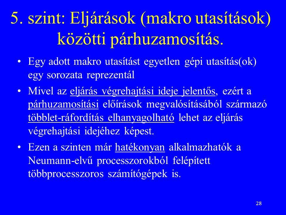 28 5. szint: Eljárások (makro utasítások) közötti párhuzamosítás.