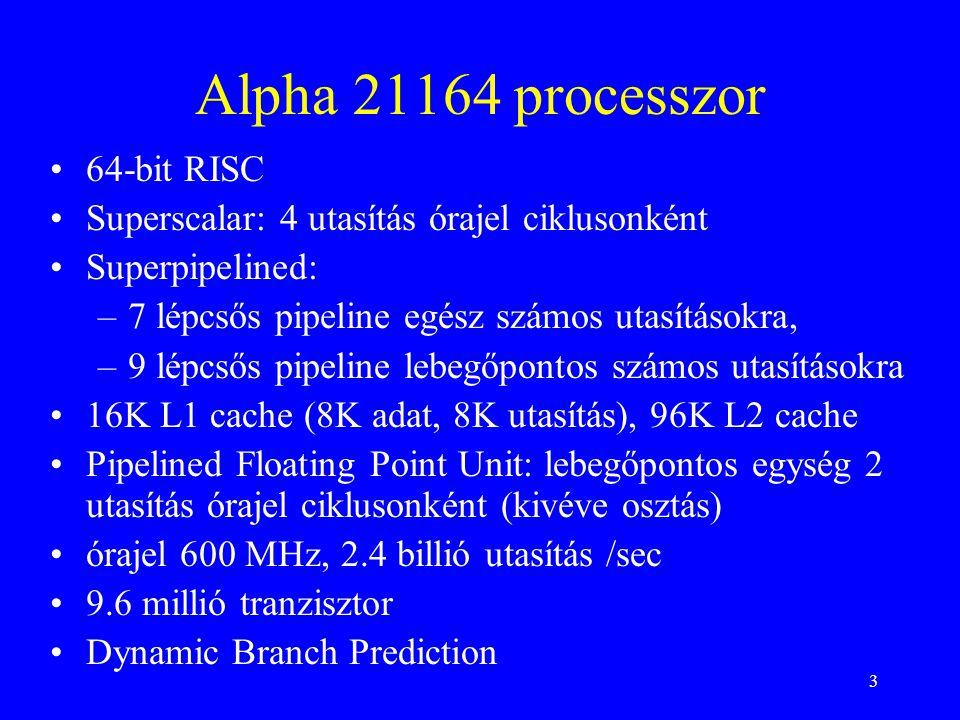 3 Alpha 21164 processzor 64-bit RISC Superscalar: 4 utasítás órajel ciklusonként Superpipelined: –7 lépcsős pipeline egész számos utasításokra, –9 lépcsős pipeline lebegőpontos számos utasításokra 16K L1 cache (8K adat, 8K utasítás), 96K L2 cache Pipelined Floating Point Unit: lebegőpontos egység 2 utasítás órajel ciklusonként (kivéve osztás) órajel 600 MHz, 2.4 billió utasítás /sec 9.6 millió tranzisztor Dynamic Branch Prediction