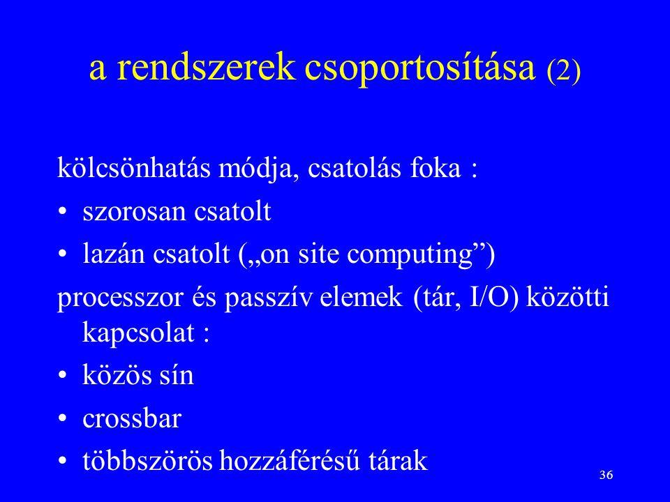 """36 a rendszerek csoportosítása (2) kölcsönhatás módja, csatolás foka : szorosan csatolt lazán csatolt (""""on site computing"""") processzor és passzív elem"""