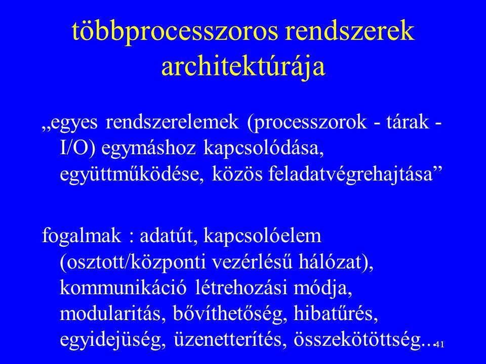 """41 többprocesszoros rendszerek architektúrája """"egyes rendszerelemek (processzorok - tárak - I/O) egymáshoz kapcsolódása, együttműködése, közös feladatvégrehajtása fogalmak : adatút, kapcsolóelem (osztott/központi vezérlésű hálózat), kommunikáció létrehozási módja, modularitás, bővíthetőség, hibatűrés, egyidejüség, üzenetterítés, összekötöttség..."""
