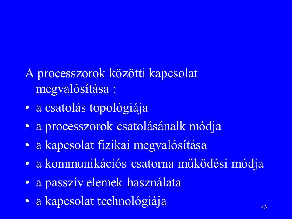43 A processzorok közötti kapcsolat megvalósítása : a csatolás topológiája a processzorok csatolásánalk módja a kapcsolat fizikai megvalósítása a kommunikációs csatorna működési módja a passzív elemek használata a kapcsolat technológiája
