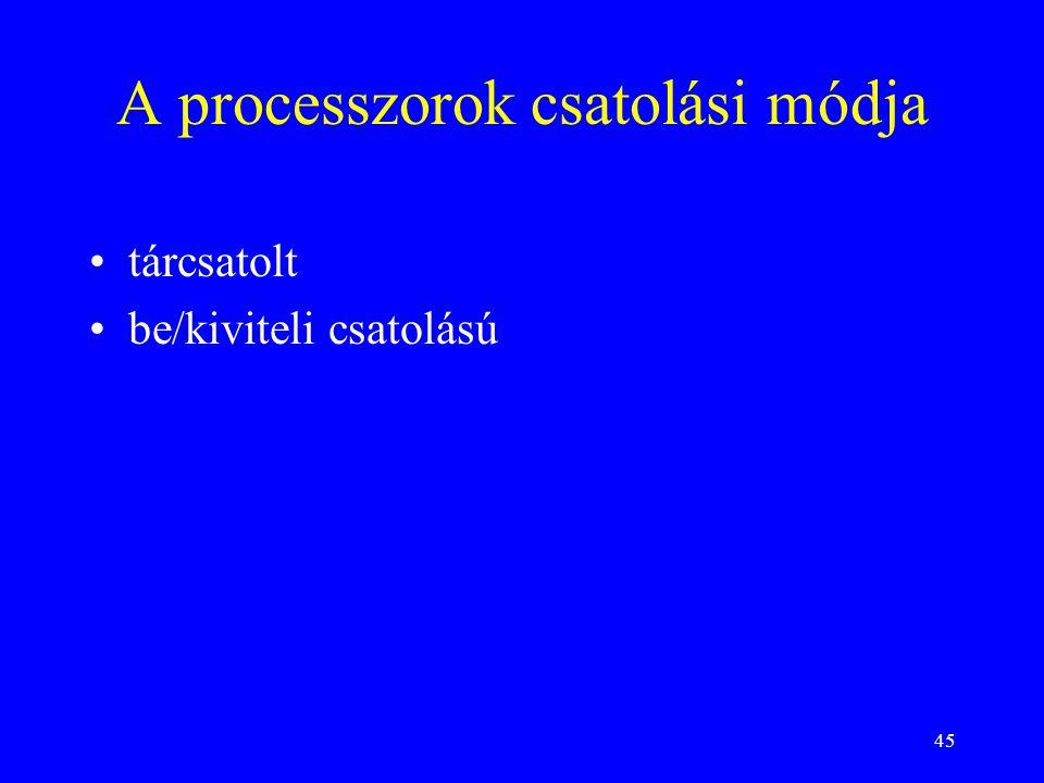 45 A processzorok csatolási módja tárcsatolt be/kiviteli csatolású