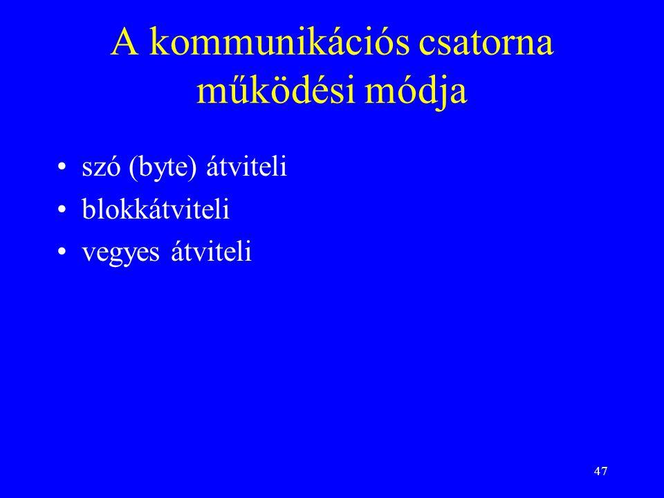47 A kommunikációs csatorna működési módja szó (byte) átviteli blokkátviteli vegyes átviteli