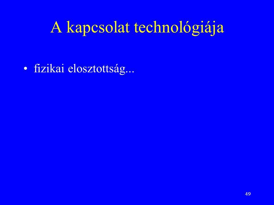 49 A kapcsolat technológiája fizikai elosztottság...