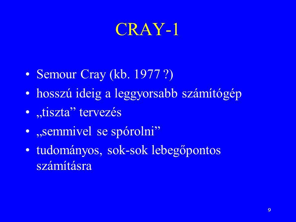 """9 Semour Cray (kb. 1977 ?) hosszú ideig a leggyorsabb számítógép """"tiszta"""" tervezés """"semmivel se spórolni"""" tudományos, sok-sok lebegőpontos számításra"""