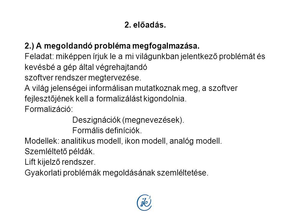 3.előadás. 3.) Modellezési relációs viszonyok. Feladat megosztás: Alkalmazási terület szakembere.