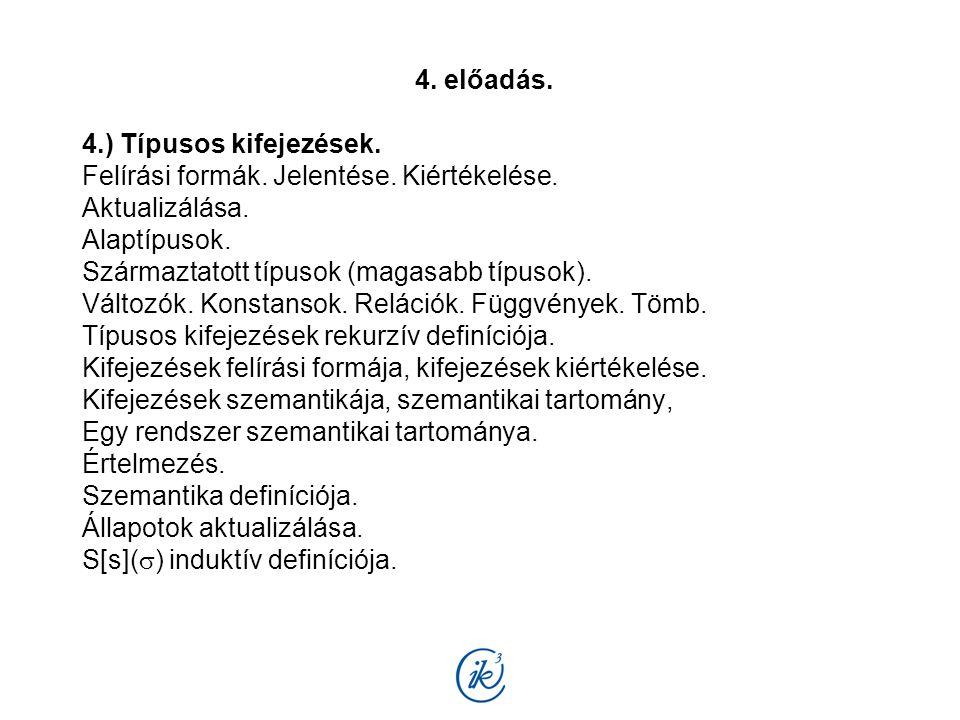 4. előadás. 4.) Típusos kifejezések. Felírási formák.