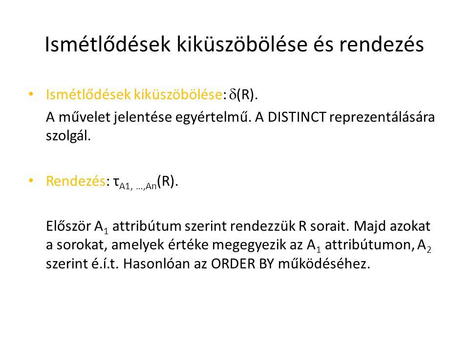 Ismétlődések kiküszöbölése és rendezés Ismétlődések kiküszöbölése:  (R). A művelet jelentése egyértelmű. A DISTINCT reprezentálására szolgál. Rendezé
