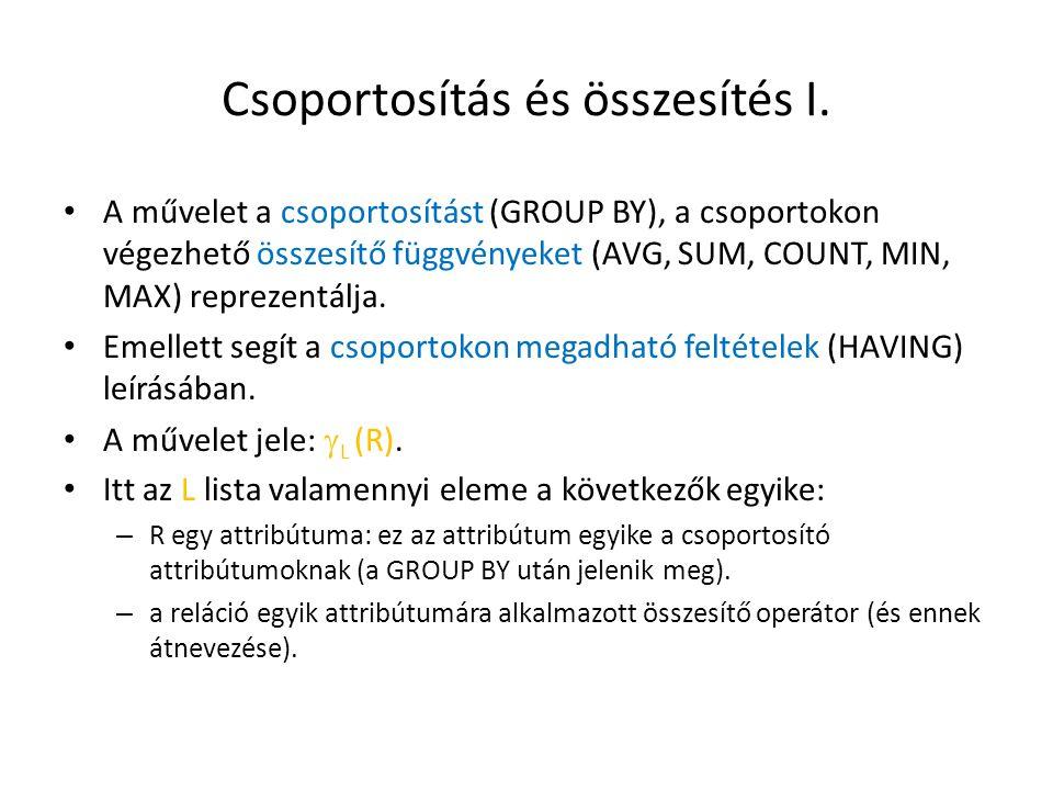 Csoportosítás és összesítés I. A művelet a csoportosítást (GROUP BY), a csoportokon végezhető összesítő függvényeket (AVG, SUM, COUNT, MIN, MAX) repre
