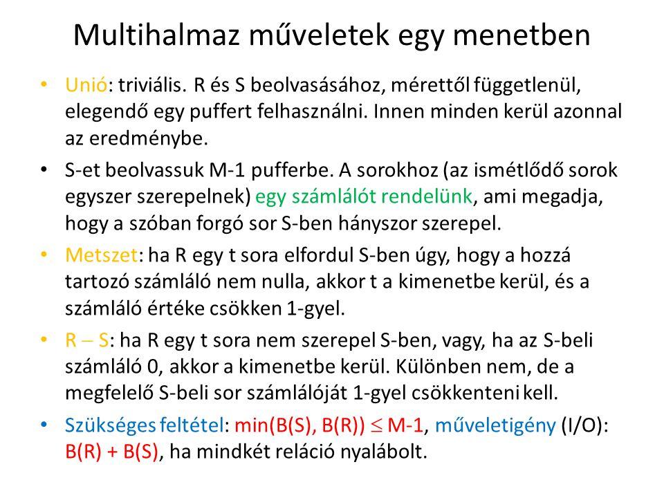 Multihalmaz műveletek egy menetben Unió: triviális. R és S beolvasásához, mérettől függetlenül, elegendő egy puffert felhasználni. Innen minden kerül