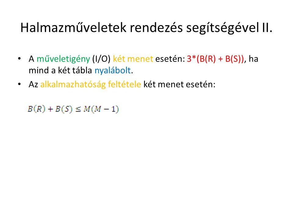 Halmazműveletek rendezés segítségével II. A műveletigény (I/O) két menet esetén: 3*(B(R) + B(S)), ha mind a két tábla nyalábolt. Az alkalmazhatóság fe