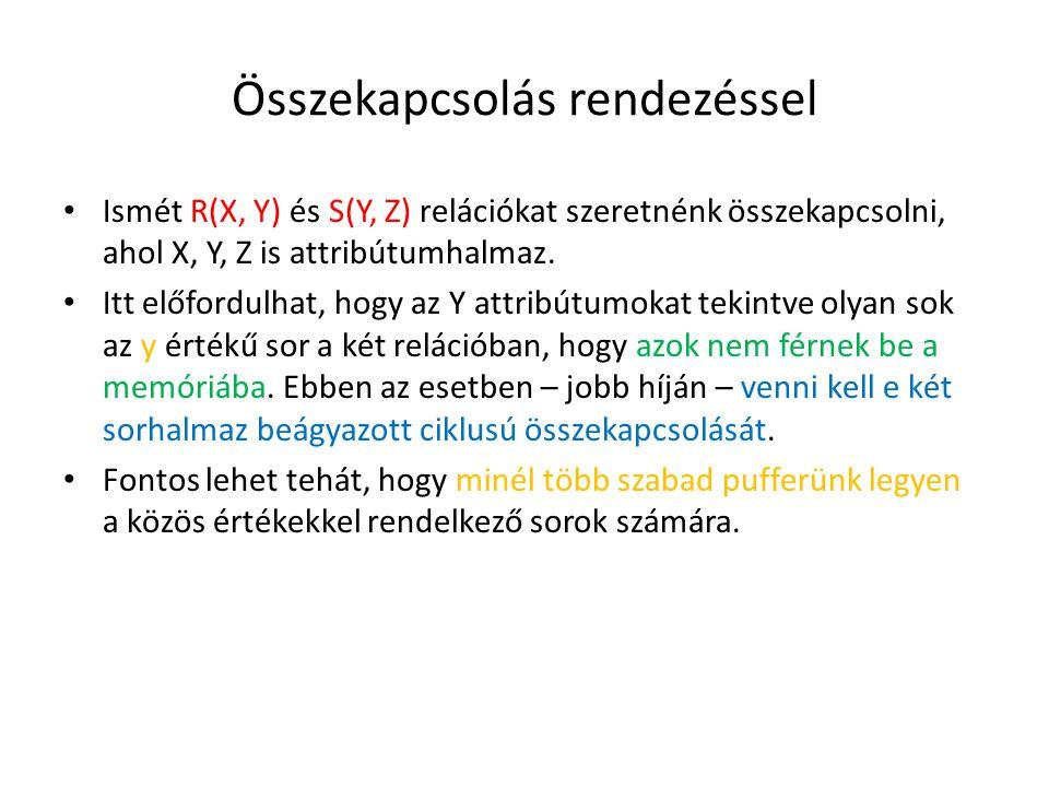 Összekapcsolás rendezéssel Ismét R(X, Y) és S(Y, Z) relációkat szeretnénk összekapcsolni, ahol X, Y, Z is attribútumhalmaz. Itt előfordulhat, hogy az