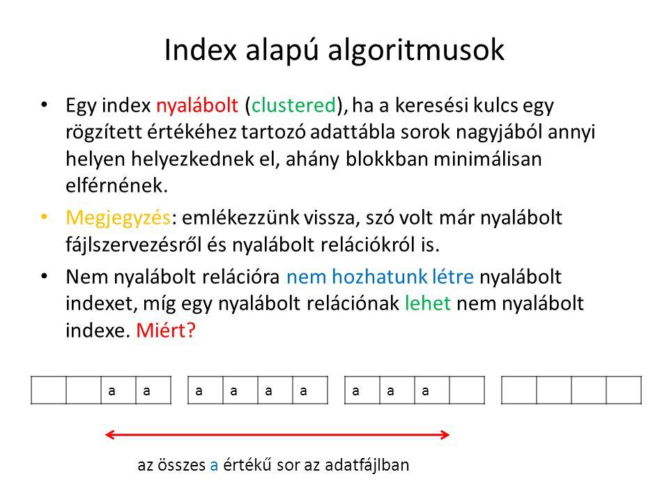 Index alapú algoritmusok Egy index nyalábolt (clustered), ha a keresési kulcs egy rögzített értékéhez tartozó adattábla sorok nagyjából annyi helyen helyezkednek el, ahány blokkban minimálisan elférnének.